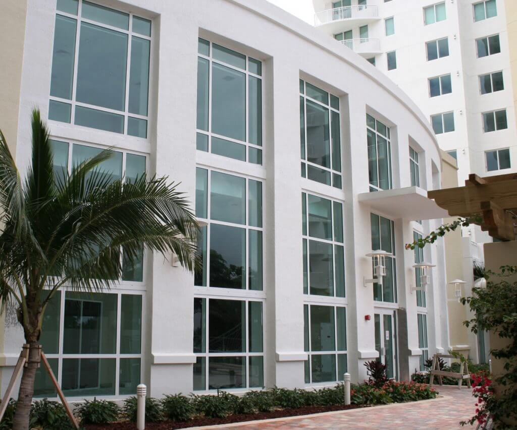 Impact windows installed at a Hallandale Beach office