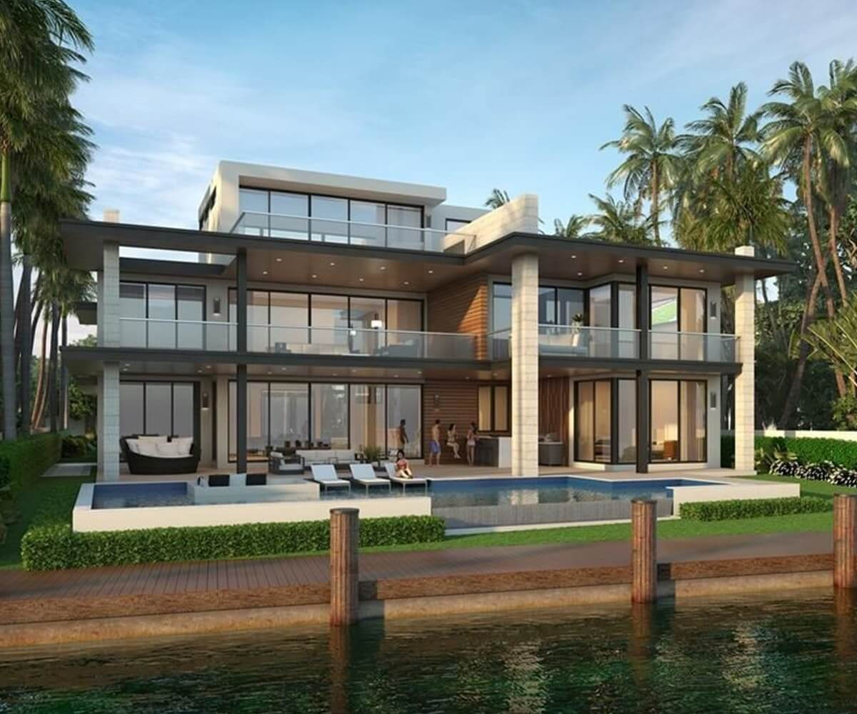 Modern Fort Lauderdale home with Impact Windows installed by the Window Guys