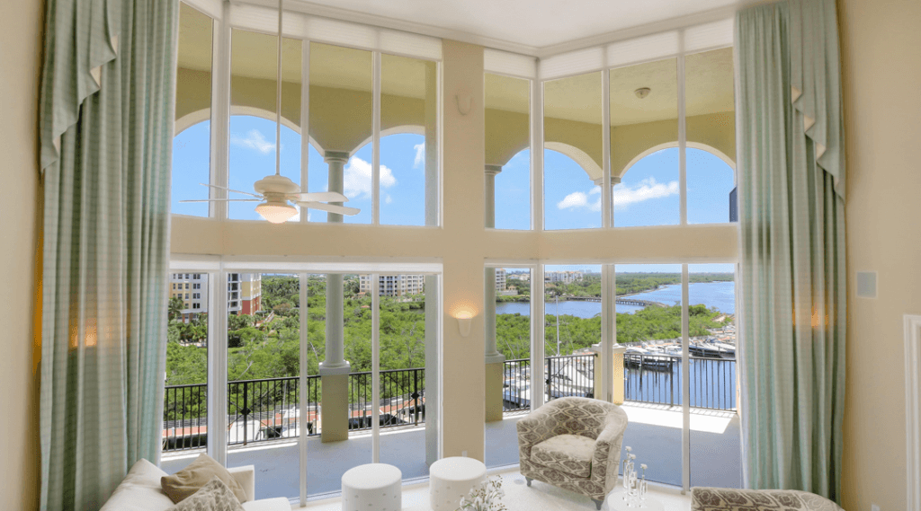 Impact Windows installed at the Jupiter Yacht club overlooking the bay