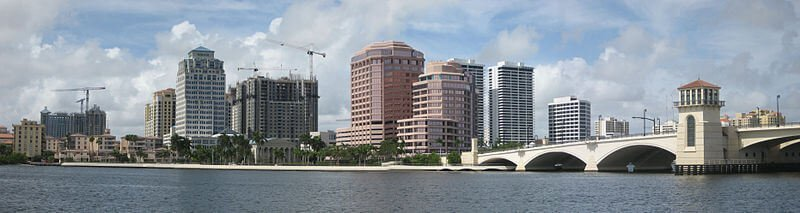 West Palm Beach skyline showing various buildings with impact windows
